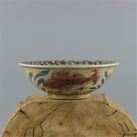 YUAN Blue & White  China old antique Porcelain fish Bowl  Hand painting