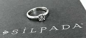 SILPADA Sterling Silver SQUARE BELLE FLEUR Ring~R2467~Size 8~RETIRED!