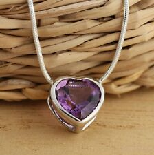 Natural Amethyst Heart Shaped 925 Sterling Silver Pendant Necklace 18 Inch Boxed