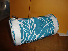 New mint Lancome Floral white and blue Cosmetic Makeup Bag Zipper Tube Pouch