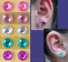 Stick On Earrings BLING Crystal Stickers Rhinestone 50 pair 6mm Clip On Girls