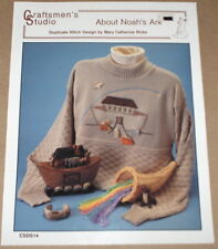 """Noah's Ark"" Duplicate Stitch Pattern w/ Albe Animal Buttons & Sweater - Sz Lg"