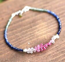Natural Pink, Green & Blue Sapphire Ombre Beaded Bracelet Solid 14K White Gold