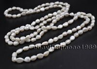 """60"""" long 7-8mm freshwater Baroque Pearl necklace free shipping"""