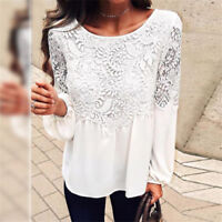 NEW Fashion Women Long Sleeve Shirt Casual Lace Blouse Loose Cotton T-Shirt Tops