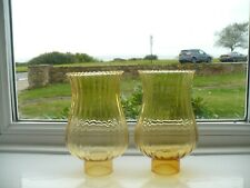 More details for pair of vintage oil lamp lribbed amber glass chimney shades with wavy top