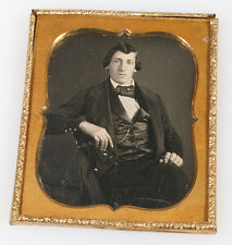 DAGUERREOTYPE MAN SEATED, RELAXED POSE. SHARP IMAGE. 1/6 PLATE.
