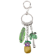 Enamel Alloy Pineapple Leaf Tree Key Chain Ring Charm Jewelry For Women Bag Gift