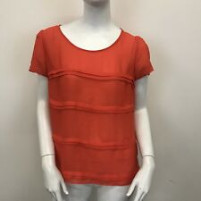 George Ladies Red Short Sleeved Sheer Chiffon Pleat Front Blouse Top UK Size 12