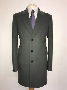 PAUL SMITH - Mens Long GREY GREEN WOOL & CASHMERE COAT - 44 Reg - BNWT £645