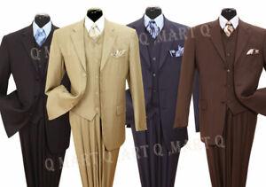Mens fancy wool feel suit 3 pc w/Vest 3 button striped design Milano Moda 5802V4