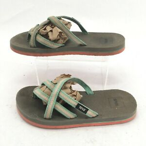 Teva Olowahu Flip Flop Strappy Sandals Womens 5 Grey Mint Casual Thong Flats