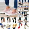 Women Lady Slip On Zip Mesh Canvas Flat Casual Pumps Boat Loafers Casual Shoes