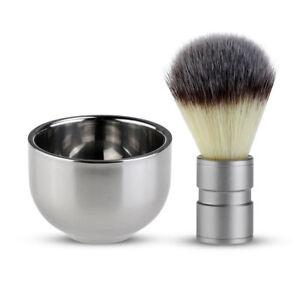 Badger Hair Shaving Brush & Stainless Steel Bowl Set Men's Grooming Fathers Day
