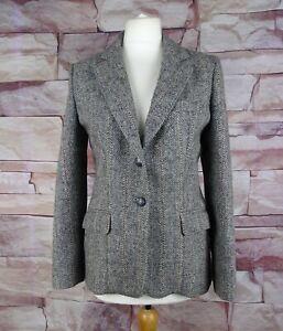 ANDRE BARREAU HARRIS TWEED women's grey blazer jacket size 10