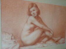 Dessin original-A.BOGASNET-Femme-nu-Art-Deco-cadre-drawing