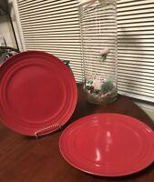 "Set LoT 2 Rachel Ray Double Ridge Stoneware Dinner Plates  RED  11"" BRAND NEW=D"
