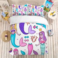 New Cartoon Mermaid Bedding Set Duvet Cover Comforter Cover Pillow Case