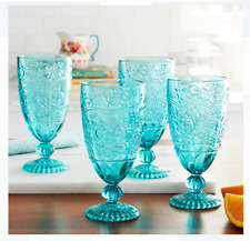 Set of 4 The Pioneer Woman 14.7-Ounce Glass Tea Goblets Kitchen Drinkware, Teal