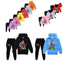 Super Mario Kinder Trainingsanzug Dünner Jungen Mädchen Outfit Sport Tops+Hosen