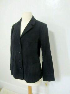 New Talbots Blue Four Button Blazer Jacket Womens 12 Brushed Cotton Pockets