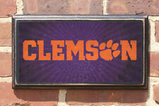 Clemson Tigers - Tiger Paw Antique Vintage Style Sign Plaque Wall Art Home Decor