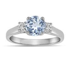 Aquamarine And Diamonds Three Stone Engagement Ring 14K White Gold 1.08 Carat
