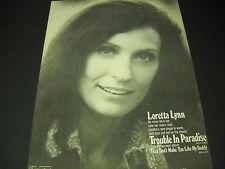 LORETTA LYNN no mean devil can take her man... 1974 PROMO POSTER AD mint cond