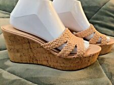 Kate Spade Sz 10M Pale Pink Patent Leather Wedges Natural Cork Shoes Sandals