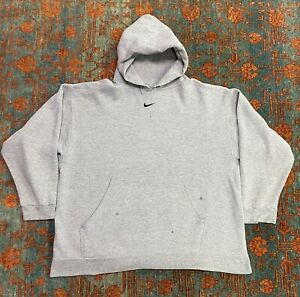 Vintage 90s NIKE CENTER CHECK HOODIE SIZE XL COLOR GRAY 90s tag