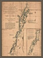 Lake Champlain Map, New York, Lake George, St. John, Crown Point, antique MAP