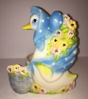 Goose Duck Swan Planter wearing a Blue Polkadot Bonnet and Flowers Vintage White