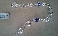 "92.5 Sterling Silver Link Chain Blue Murano Bracelet Dobbs Boston Italy 7 1/2"""