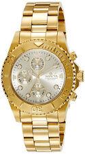 Invicta Gold Oro Man Watch Hombre Reloj Crystal Bracelet Pulsera Steel Case Hand