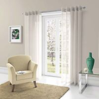 Pair of Chicago Eyelet Voile Curtains Metallic Sparkle Ring Top Panels Cream