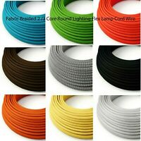 1 meter Cyprus green 3 core hanging light flex wire braided twisted MADE UK T8