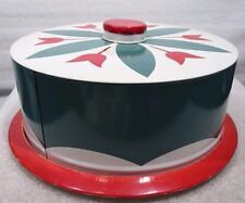 Vintage Small Metal Tin Cake Keeper Tulips