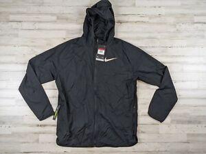 New Nike Mens Large Wind Runner Lightweight Nylon Running Jacket Black AR0257