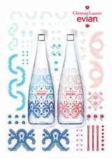 EVIAN WATER ~ 2016 CHRISTIAN LACROIX~ GLASS BOTTLE ~ COLLECTIBLE PAIR ~ SEALED