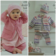 KNITTING PATTERN Baby Easy Knit Eyelet Pattern Cardigan Leggings & Hat DK 4195