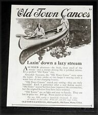 1924 OLD MAGAZINE PRINT AD, OLD TOWN CANOES, LAZIN' DOWN A LAZY STREAM, SUMMER!