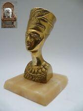 Messing Büste Nofretete 15,5 cm auf Onyxsockel 900 g Ägypten Pharao Tutenchamun