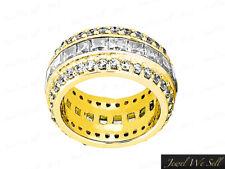 5.40Ct Princess Round Diamond 3Row Eternity Wedding Ring 14k Yellow Gold G SI1