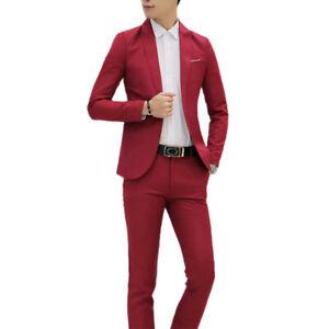 Men's Dress Suit Slim Fit 2 Piece Coat Pants Trousers Formal Wedding Groom Party