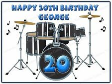 Personalised Black Drum Kit Drums Music Edible Icing Birthday Party Cake Topper