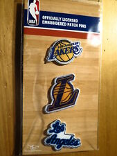Official Licensed NBA Los Angeles Lakers Embroidered Patch Pin Set