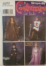 Simplicity Costume Pattern 5520 UC Kids Boys Girls Princess Knight Warrior Royal