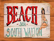 "TIN-UPS TIN Sign ""Beach South Walton"" Vintage Garage Vaccation"