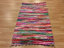 Multi Colour Red Handwoven Rag Rug Funky Recycled Mix Textures 110x180cm 50 off