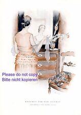 Mädchen vor dem Spiegel XL Kunstdruck 1928 Frisiertisch Komode Schal Schleier